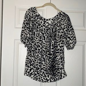 White House Black Market | Silk leopard print top